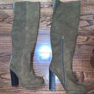 JustFab Brown Over The Knee High Heel Boots Size 6